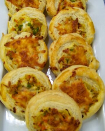 baked and slice turkey and vegetable puff pastry