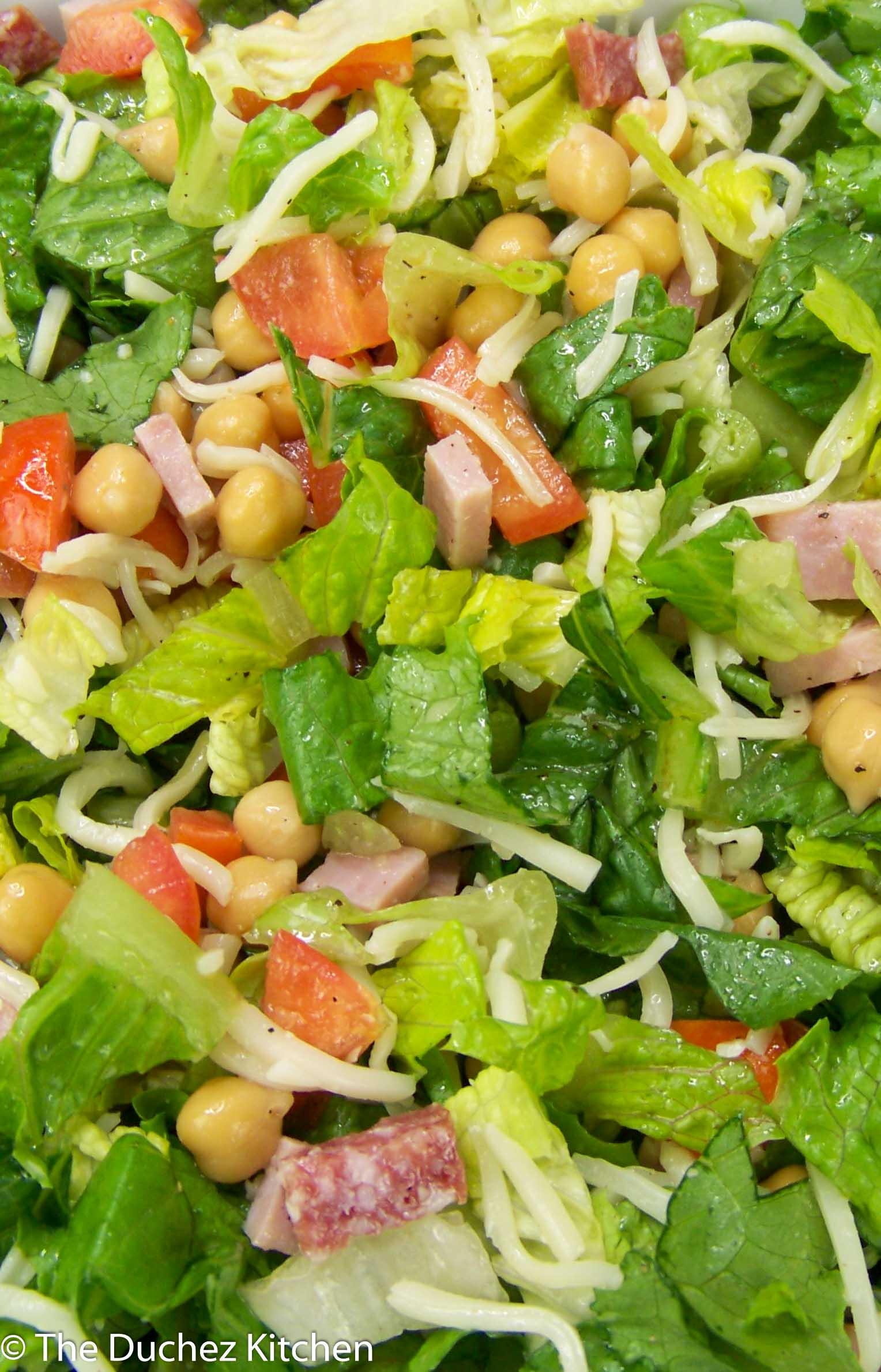 Italian Chopped Salad mixed in a bowl